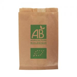 """Sac papier kraft  AB """"AGRICULTURE BIOLOGIQUE"""" 14+9×21 cm 0,5 kg x1000"""