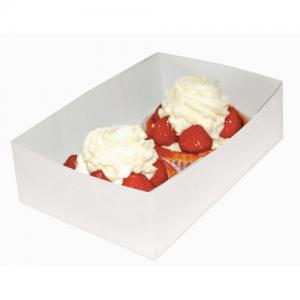Caissette pâtissière blanche carton compact 16x12x5 cm colis de 200