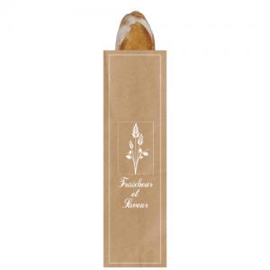 """Sac à pain kraft brun """"Fraîcheur et saveur"""" baguette 10+4×48 cm colis de 1000"""
