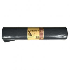SACS POUBELLES 130L gris  100 sacs (65 microns) x100 sacs