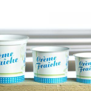 Pot de Crème Fraîche avec Couvercle • 12,5 CL x 300 uv