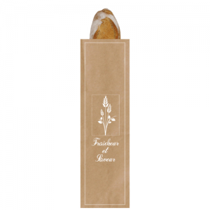 """Sac à pain kraft brun """"Fraîcheur et saveur"""" pain 10+5,5×48 cm colis de 1000"""