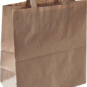 Sacs cabas kraft brun avec poignées plates / 32 + 22 x 36 cm